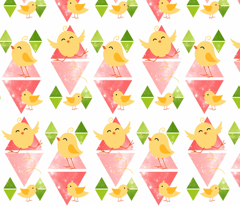 Cute chicks fabric by ka_ra on Spoonflower - custom fabric