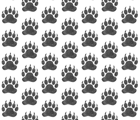 """3"""" Bear Paws - grey on white fabric by sugarpinedesign on Spoonflower - custom fabric"""