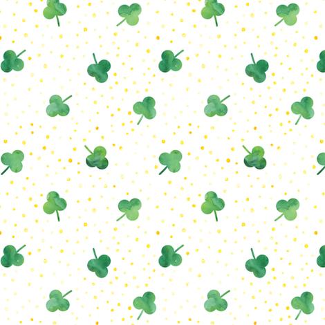 watercolor shamrock w/ gold dots fabric by littlearrowdesign on Spoonflower - custom fabric