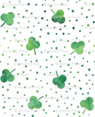 watercolor shamrock w/ green dots