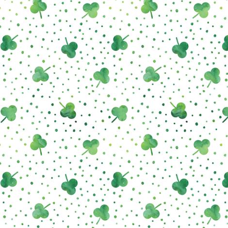 watercolor shamrock w/ green dots fabric by littlearrowdesign on Spoonflower - custom fabric