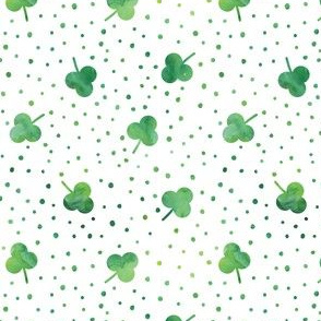 watercolor shamrock w/ green dots