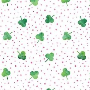 watercolor shamrock w/ pink dots