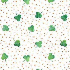 watercolor shamrock w/ orange dots