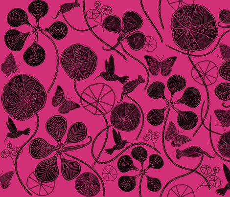 African Nasturtium Garden 1 (Pantone pink yarrow) black fabric by helenpdesigns on Spoonflower - custom fabric