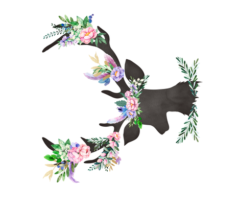 """21""""X18"""" SPRING 2018 / FLORAL DEER fabric by shopcabin on Spoonflower - custom fabric"""