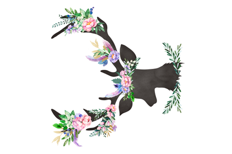 """36""""X54"""" 2018 SPRING FLORAL DEER / NO FREE FALLING LEAVES fabric by shopcabin on Spoonflower - custom fabric"""
