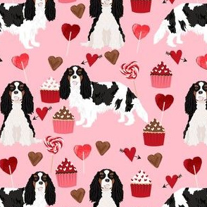 cavalier king charles spaniel tricolored valentines cupcakes love hearts dog breed fabric  pink