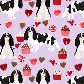 cavalier king charles spaniel tricolored valentines cupcakes love hearts dog breed fabric  purple