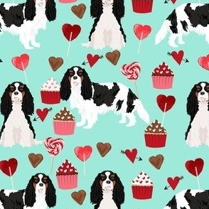 cavalier king charles spaniel tricolored valentines cupcakes love hearts dog breed fabric  turquoise