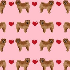 chow chow love hearts  dog breed fabric pink