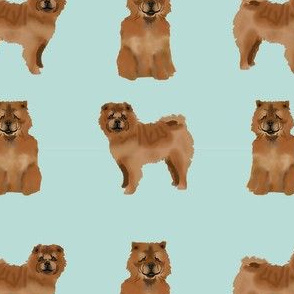 chow chow simple  dog breed fabric mint