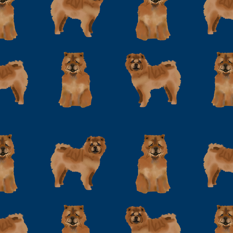 chow chow simple  dog breed fabric navy fabric by petfriendly on Spoonflower - custom fabric