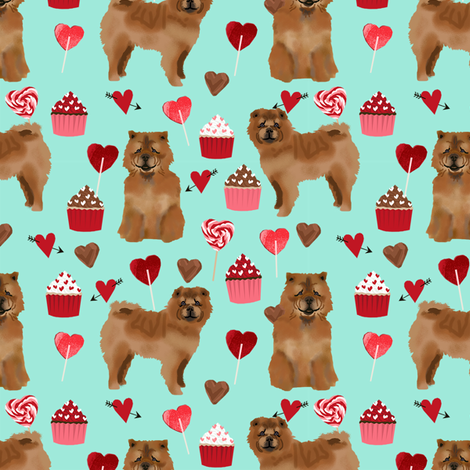chowchow valentines cupcakes love hearts dog breed fabric turquoise fabric by petfriendly on Spoonflower - custom fabric