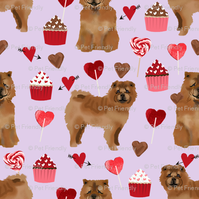 chowchow valentines cupcakes love hearts dog breed fabric purple