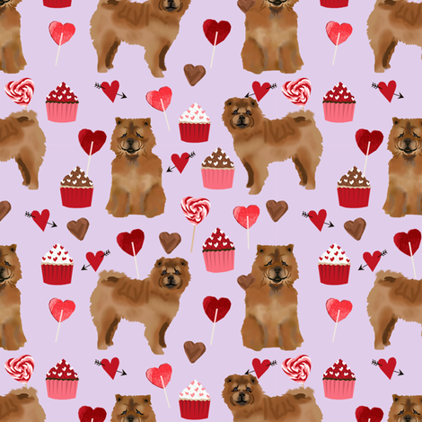 chowchow valentines cupcakes love hearts dog breed fabric purple fabric by petfriendly on Spoonflower - custom fabric
