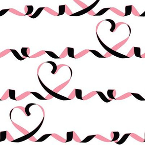 Love me tight // white background black & pink ribbons