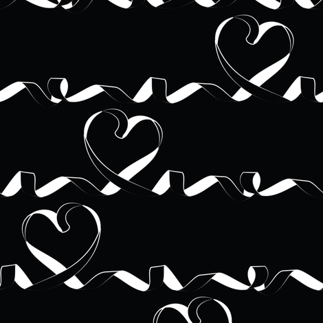 Love me tight // black background white ribbons fabric by selmacardoso on Spoonflower - custom fabric