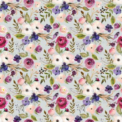 Floral - Plum Purple & Blush Flowers (frost gray) Garden Blooms Baby Girl Nursery