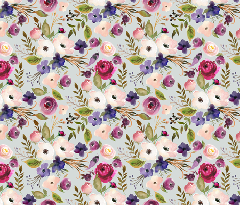 Floral - Plum Purple & Blush Flowers (frost gray) Garden Blooms Baby Girl Nursery fabric by gingerlous on Spoonflower - custom fabric