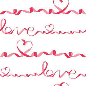 Love me tight // white background red & pink ribbons