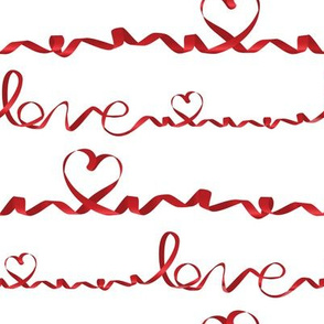 Love me tight // white background red gradient ribbons