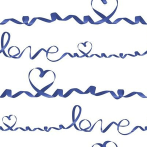 Love me tight  // white background blue gradient ribbons