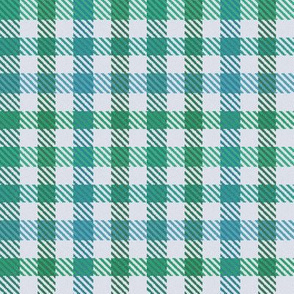 8 Color Asymmetrical Plaid in Blue-Greens