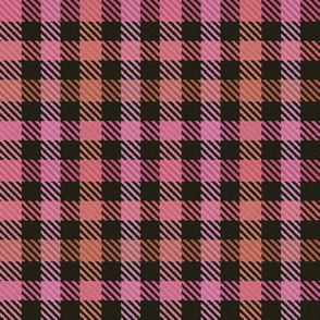 8 Color Asymmetrical Plaid in Pinks Peaches and Black