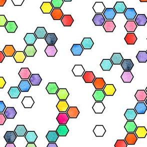 Rainbow hexagons on white