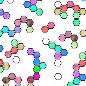 Purple and aqua hexagons on white