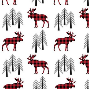 Plaid Moose & Trees - Black and Red Buffalo Plaid Lumberjack Baby Nursery Kids Childrens Bedding Woodland Animals
