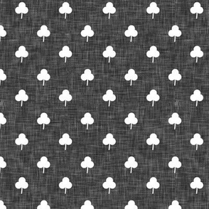 (small scale) simple shamrock on grey linen