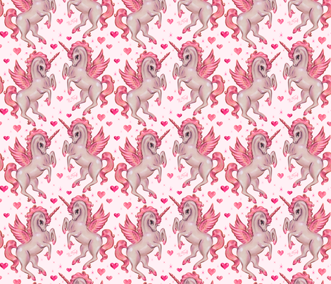 Unicorn Pegasus - Small fabric by miss_fluff on Spoonflower - custom fabric