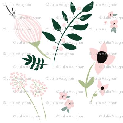 Budding Spring Florals / blush pink emerald green mint