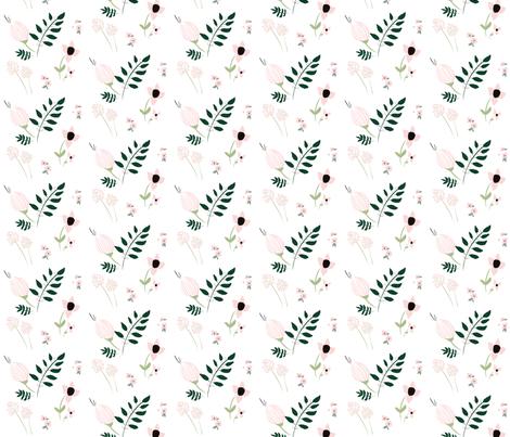 Budding Spring Florals / blush pink emerald green mint fabric by wilderandbean on Spoonflower - custom fabric