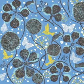 African Nasturtium Garden 1 (Pantone Little Boy Blue) brown
