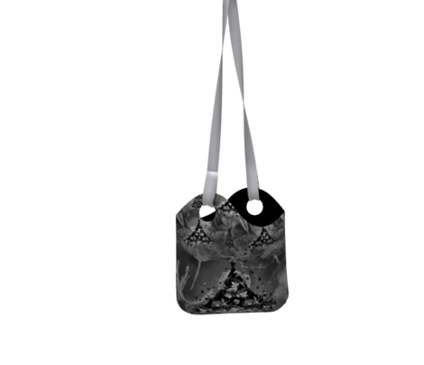 smal scale DREAMY POPPIES DRESSES black and white on grey gray