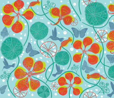 African Nasturtium Garden 1 (Pantone Island teal) fabric by helenpdesigns on Spoonflower - custom fabric