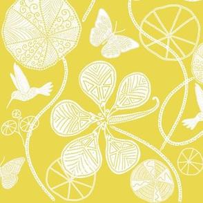 African Nasturtium Garden (Pantone Meadowlark Yellow) white