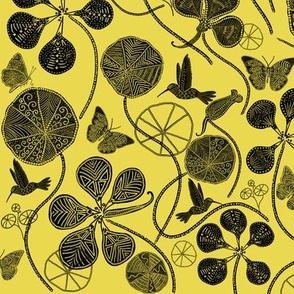 African Nasturtium Garden (Pantone Meadowlark Yellow &  black)