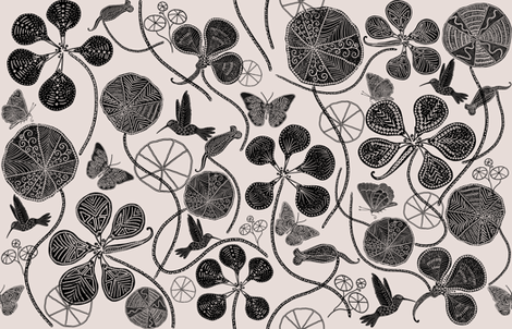 African Nasturtium Garden (Pantone-black-Almost Mauve)  fabric by helenpdesigns on Spoonflower - custom fabric