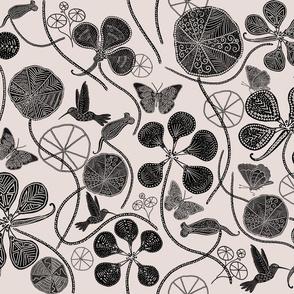 African Nasturtium Garden (Pantone-black-Almost Mauve)