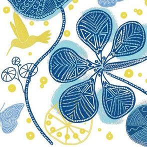 African Nasturtium Garden (white-blue-yellow-island)