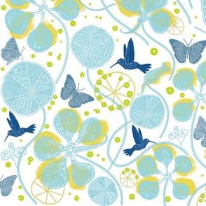 African Nasturtium Garden  (white-island-yellow-blue)