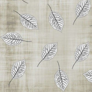 Falling Leaves on Taupe Texture