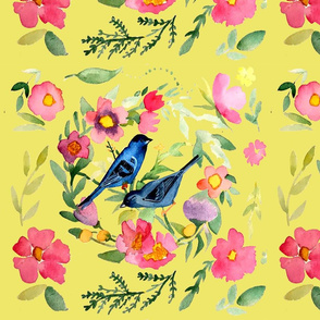 Indigo Buntings in Yellow