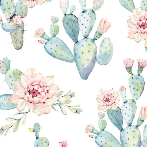 Watercolor Cactus // Large Scale fabric by hipkiddesigns on Spoonflower - custom fabric
