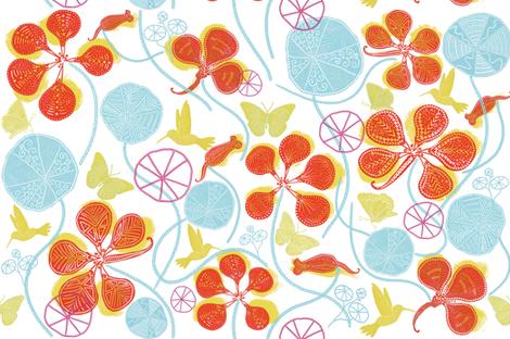 African Nasturtium Garden (Pantone white-island-yellow-tomato) fabric by helenpdesigns on Spoonflower - custom fabric
