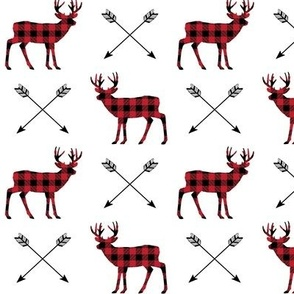 Plaid Deer & Arrows - Black and Red Buffalo Plaid Lumberjack Baby Nursery Kids Childrens Bedding Woodland Animals